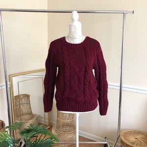 Oona & Maud Burgundy Chunky Fisherman Sweater S
